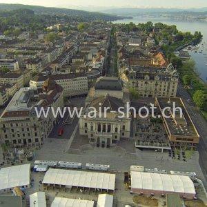 Luftaufnahme vom Bellevue / Sechseläutenplatz